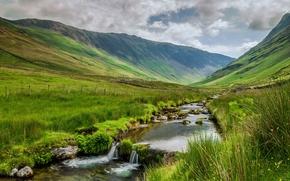 горы, речка, водопад, холмы, пейзаж