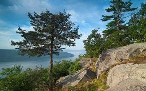 Montanhas Adirondack, Nova Iorque, Grande Vale Appalachian, Lake George, Vale grande, lago, ?rvores, pedras, panorama