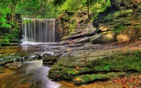лес, водопад, речка, скалы, природа
