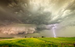 поле, тучи, молния, пейзаж