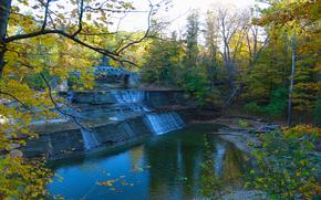 automne, forêt, arbres, cascade, Rocks, pont, rivière, paysage