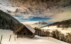 зима, горы, деревья, дом, пейзаж