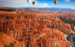 Bryce canyon, горы, скалы, небо, воздушные шары, пейзаж