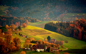 autumn, Hills, trees, home, landscape