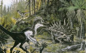 dinosauri, Animali antico, pittura, foresta, Palme