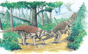 dinosaurs, Ancient animals, painting, forest, trees, bush, mountain, volcano