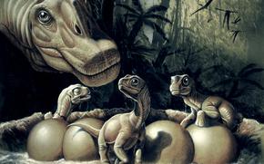 Titanosauri, dinosauri, Animali antico, pittura, foresta, Palme, nido, uova