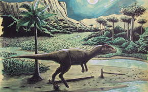 dinosaurs, Ancient animals, painting, forest, Palms, moon, sky, river, Mountains, night