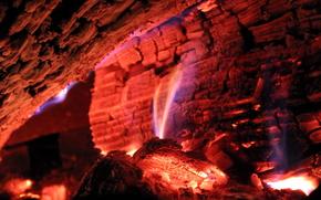угли, огонь, макро