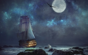 night, moon, sea, ship, Rocks, landscape