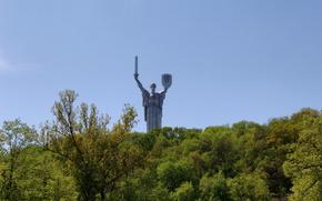 Ukraine, statue, motherland, Motherland-Mother, Kiev, Ukraine, 1981, ussr, trees, park, SPRING, May