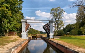 Augustow Canal, gateway, Grodno, Byelorussia, Belarus, forest, sky, autumn, September
