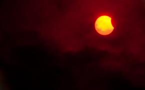 Eclissi solare, sole, luna, cielo, obloka, paesaggio