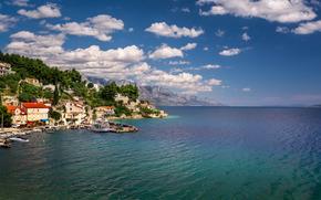 Mimice Village, Mare Adriatico, Omis Riviera, croazia, Mimice, Mare Adriatico, Omis Riviera, Croazia, villaggio, mare, Montagne, nuvole, costa