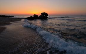 Пляж, море, волны, песок, океан, камни, вечер, закат, пейзаж