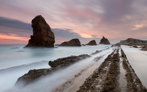 Cantabria, Spain, Rocks, morning, DAWN, sea, sky, landscape