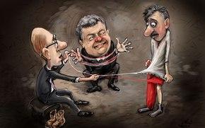 Arseni Yatseniuk, Petro Poroshenko, caricatura
