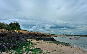costa, mare, cespuglio, pietre, sabbia, Imbarcazione, alberi, alghe, cielo, obloka, NUVOLE, Brittany, Francia, paesaggio