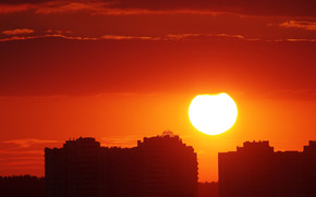 Закат, солнце, вечер, заря, город, Киев, Украина, дома