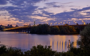 evening, bridge, river, Dnieper, Kiev, Ukraine, statue, motherland, city, home, lights, trees, sky, clouds