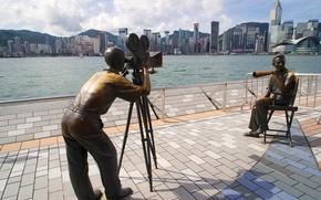 scultura, rezhisyor, operatore, del cinema, Grattacieli, Hong Kong, Cina