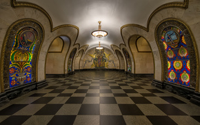 Subway station, Novoslobodskaya, Moscow, Russia, city, interior, chandelier, mazaika