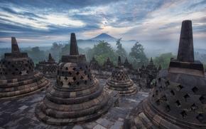 Indon?sia, montanha, a ilha de Java, paisagem, Borobudur