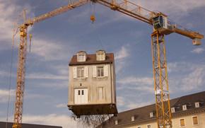 construcción, grúa, cabina, ciudad