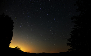 night, sky, Star, trees, landscape