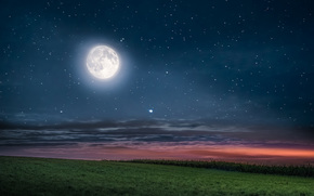 night, moon, Star, sky, obloka, field, landscape