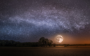 night, sky, moon, Star, Milky Way galaxy, space, land, field, trees, landscape