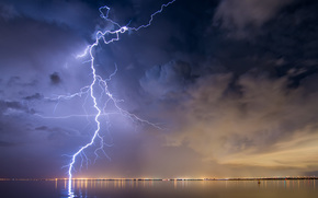 sky, CLOUDS, weather, nature, storm, lightning, sea, city, petersburg, Florida, USA, landscape