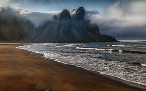 sera, Montagne, nuvole, sabbia, puntellare, mare, Islanda, paesaggio