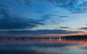 Вечер, сумерки, мост, река, Волга, город, Ульяновск, Россия, луна, небо, облака