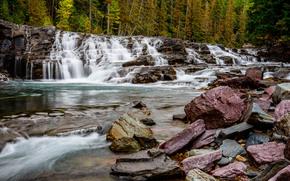 fiume, foresta, alberi, pietre, cascata, cascata, natura