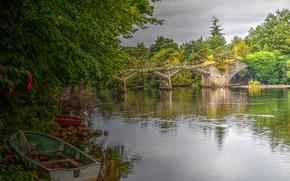 river, bridge, Boat, trees, landscape