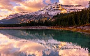 Alberta, Banff National Park, Canada, закат, озеро, горы, деревья, пейзаж