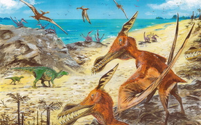 ancients, animals, dinosaurs, painting, beach, sea, Palms