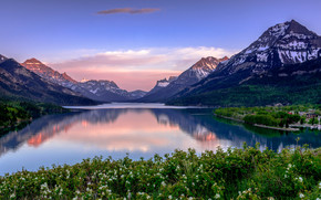 Canada, National Parks of Canada, Waterton Lakes, Waterton Peace Park, Glacier National Park, lake, Mountains, landscape
