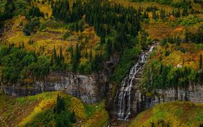 Parco nazionale Glacier, Montana, autunno, Montagne, alberi, cascata, paesaggio