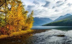 Abbassare Kinta Lago, Parco nazionale Glacier, Canada, osengory, paesaggio