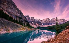 Alberta, Banff National Park, Canada, Moraine Lake, National Parks of Canada, sunset, Mountains, lake, landscape