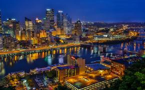 Pittsburgh, Pennsylvania, Monongahela River, Golden Triangle, Питтсбург, Пенсильвания, река Мононгахила, Золотой треугольник, ночной город, небоскрёбы, здания, река, мосты