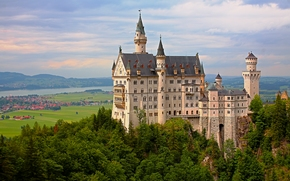 Neuschwanstein Castle, Bavaria, Germany, Замок Нойшванштайн, Бавария, Германия, замок, долина, деревья, панорама