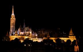 Ночь, Церковь Матьяша и Рыбацкий бастион, Будапешт, Венгрия, город