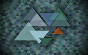 triángulo, mosaico, abstracción, fondo