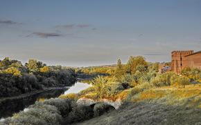 fortaleza, parede, R?ssia, rio, Smolensk, c?u, ?rvores