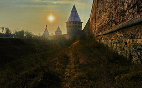 Smolensk, Russia, fortress, wall, sky, sun, footpath, city