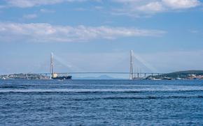 Владивосток, Россия, мост, море, корабли, небо, облака, горы, сопки, город