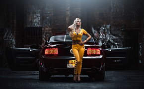 Ford Mustang, ford, mustang, girl, blonde